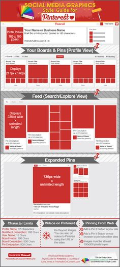 Pinterest photo sizes and character limits for Pins and Boards  #Pinterest #Infographic