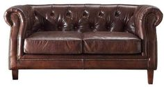 1571be6aba6e Williston Forge Kasha Top Grain Leather Chesterfield Loveseat Luxury Home  Furniture
