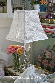 Tutorial:How to make a lace lampshade from a lace shirt. So clever ! (from The Spanish Dahlia) Tutorial:How to make a lace lampshade from a lace shirt. So clever ! (from The Spanish Dahlia) Shabby Chic Lamp Shades, Shabby Chic Decor, Lace Decor, Rustic Decor, Lace Lampshade, Lampshades, Diy Luminaire, Lampe Decoration, Diy Casa