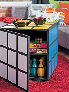 Nerd DIY! How to make a Rubik's Cube coffee table, by Better Homes and Gardens. '80s forever. This would be a great way to store all of our board games! :D