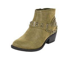 Also! Cowgirl Metal Diamond Buckle Strap Ankle Bootie Low Heel Dark Taupe Leatherette - lustacious