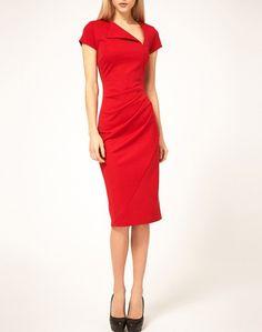 Red dress with asymmetric neckline