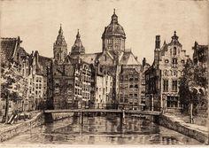 Marius Janssen - Ets met voorstelling van het Oudezijds Kolkje te Amsterdam. Verv.jaar: 1900-1950. Fries Scheepvaart Museum