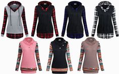 Faddare Women's Hooded Sweatshirts Long Sleeve 2 in 1, Amazon - DealsPlus Cheap Vintage Clothing, Vintage Outfits, Casual Sweaters, Sweaters For Women, Stylish Hoodies, Hooded Sweater, Sweater Fashion, Casual Looks, Casual Wear