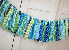Blue Lime Green Aqua Teal Lagoon Shabby Torn by freshsqueezedbaby, $40.00