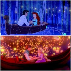 Ariel and Rapunzel on boat rides with their true loves. <3