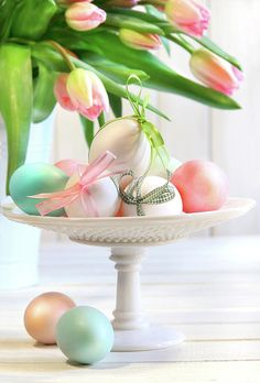 Colored Eggs With Bows And Tulips Print by Sandra Cunningham