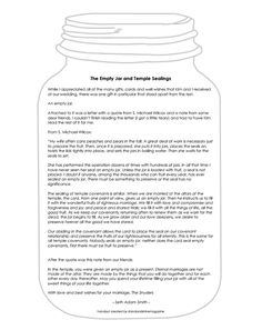 Stand & Shine Magazine: The Importance of Temple Marriage - handout of the parable Empty Jar and Temple Sealing