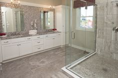 Shower Wall: Exquisite by DalTile Color: Silverstone Shower Pan: Chenille White River Pebble Mosaic by Dal Tile Master Vanity Backsplash: Pearl Anchor Gray Flat Bricks by Soho Floor Tile: Exquisite by DalTile Color: Silverstone J. Shower Floor, Shower Tile, Dal Tile, Flooring, Vanity Backsplash, House, Vinyl Tile, Flooring Store, Shower Wall