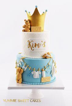 Baby Boy Birthday Cake, Baby Boy Cakes, Cakes For Boys, Baby Shower Cakes, Easy Birthday Cake Recipes, Sweet Cakes, Fondant, Cake Decorating, Babyshower