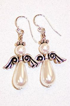 One of the most popular Angel Earring kits at our retail store. Using glass pearls, pewter wings and spacers, silver-filled headpins and ear wire.