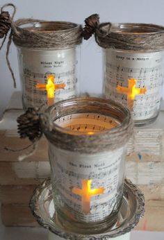 Vintage Christmas Hymnal Lighted Mason Jar by WhiteBarnCreations, $20.00