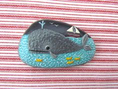 Sea Whale & Ship  /  Stone Rock Painting / Rock Art