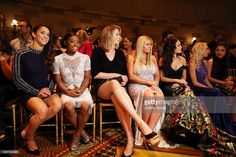 Aly Raisman, Simone Biles, Ireland Baldwin, Allie Simpson, Kelli Berglund, Jordyn Jones, and Landry Bender attend the Sherri Hill presentation at Gotham Hall on September 12, 2016 in New York City.
