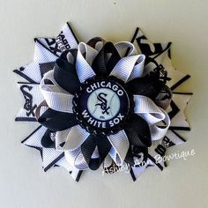 Chicago white sox inspired spike hair bows by AshleyAnnBowtique