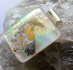 "Unicorn  pendant Dichroic glass handmade kiln fused necklace 3.5cm x 2.5cm / 1.5"" X 1"" with 18""chain  gift box spiritual by hotglassfusions on Etsy"