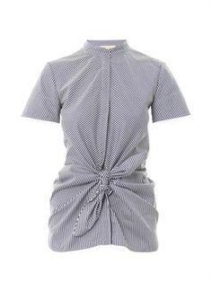Striped tie-front cotton-poplin top