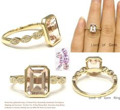 Emerald Cut Morganite Engagement Ring Pave Diamond Wedding 14K Yellow Gold 6x8mm  Art Deco - Lord of Gem Rings - 1
