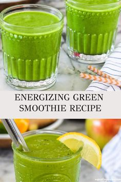 This immune boosting energizing green smoothie is made with just 5 ingredients Naturally sweetened with fresh apples and oranges this detox smoothie has superfoods spinach hemp hearts anti-inflammatory ginger ministryofcurry greensmoothie immuneboosting Green Smoothie Vegan, Green Smoothie Recipes, Juice Smoothie, Healthy Smoothies, Healthy Drinks, Apple Spinach Smoothie, Detox Smoothies, Jamba Juice, Vegetable Smoothies