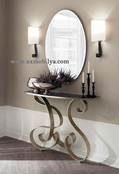99 models of console table shapes in the unique master bedroom ~ Top Home Design Wrought Iron Console Table, Modern Console Tables, Home Interior, Decor Interior Design, Interior Decorating, Luxury Interior, Living Room Mirrors, Living Room Decor, Dining Room