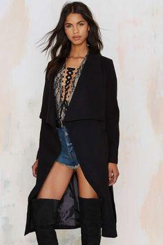 New York Minute Robe Coat - Black | Nasty Gal