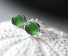 Genuine Sea Glass Earrings/ Emerald Green Sea by modesteparisienne