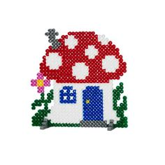 Mushroom house hama perler beads http://mistertrufa.net/librecreacion/culturarte/?p=12