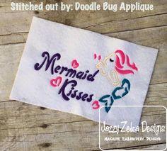 Mermaid Kisses Satin Stitch Outline Embroidery Design: Jazzy Zebra Designs