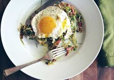Eggs With Shaved Brussels Sprout Salad - Brussels sprouts have a hearty bite and are loaded with nutrients. This super healthy green vegetable provides detox support, inflammatory prevention, and has multiple cancer-fighting properties. Getting your daily dose of brussels sprouts is easy with this meal!   Get the recipe from Seven Spoons.