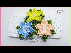 """Today in the tutorial will make the flowers """"Star"""" of satin ribbons 5 cm wide. Kanzashi uses the technique with a new version of the petals. Headband Tutorial, Bow Tutorial, Satin Flowers, Diy Flowers, Ribbon Crafts, Flower Crafts, Ribbon Embroidery Tutorial, Arts And Crafts, Diy Crafts"""
