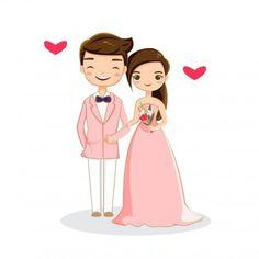Sweet romantic couple Premium Vector in 2019 Bride And Groom Cartoon, Wedding Couple Cartoon, Cute Couple Cartoon, Cute Couple Art, Cute Love Cartoons, Cute Cartoon, Indian Wedding Invitation Cards, Indian Wedding Cards, Creative Wedding Invitations