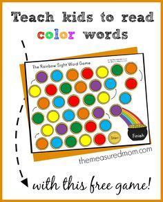 This is a great color words activity for kindergarten!  Have your child read the color word cards and move along the path toward the pot of gold.  Free!