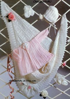 Baby Shawl with Matinee Jacket Bonnet & Bootees in 4 ply yarn for sizes 16 - 22 inches -PDF of a Vintage Knitting Pattern Instant Download D