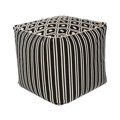 Zagora Black and White Groove Cotton Square Pouf Ottoman ($137) ❤ liked on Polyvore featuring home, furniture, ottomans, black and white striped furniture, black white ottoman, square footstool, black and white ottoman and pipe furniture