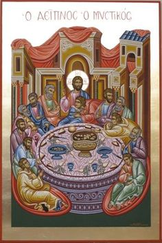 Religious icon of Last Supper.