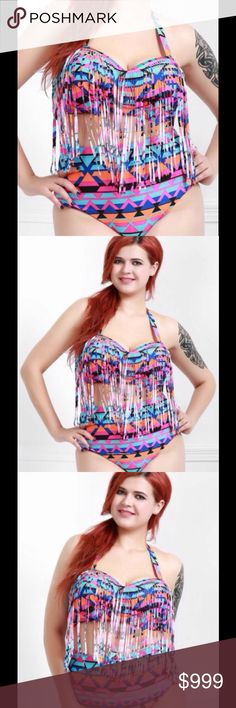 ❣COMING SOON❣Halter Plus Size Bikini Set Brand new. Alluring fringe design. Printed high waisted bikini set. 100% polyester. Will be available in 2XL & 3XL sizes. You can purchase this listing & mention the size you want. Swim Bikinis