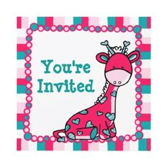 Whimsical Giraffe You're Invited by HahpiBaby