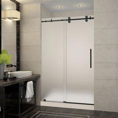 Aston Langham 48 in. x 36 in. x 77.5 in. Frameless Sliding Shower Door with Frosted Glass in Oil Rubbed Bronze and Right Base