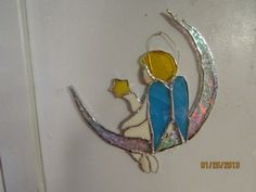 handmade stained glass baby angel.