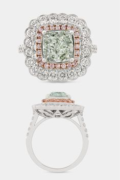 This exceptional 3.01-carat fancy light yellow-green diamond is a natural wonder. Formed under extremely precise conditions, green diamonds are one of the rarest gems known. The GIA-certified diamond boasts a brilliant cut that displays its best qualities. Set in 18K gold with fancy pink and white diamonds ~ Best Engagement Rings, Luxury Jewelry, Fancy Diamonds, Colored diamond ring ~ M.S. Rau Antiques