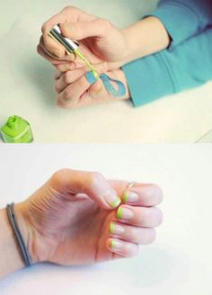 Use a Rubber Band to Fix Your French Manicure If you chip one of the tips of your french manicure, you don't necessarily have to remove the polish and do the entire thing again. For a quick fix, just remove the portion of the nail polish that is chipped and use a rubber band to section it off. You can then just paint new polish over the area that needs it and be on your way.