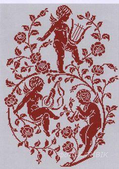 angeli musicanti Filet Crochet Charts, Cross Stitch Charts, Cross Stitch Embroidery, Cross Stitch Patterns, Fillet Crochet, Cross Stitch Angels, Crochet Angels, Drawn Thread, Cross Stitch Alphabet