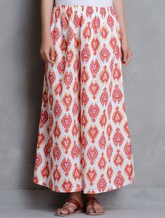 Buy White Multi Color Ikat Printed Elasticated & Tie Up Waist Cotton Palazzos Women A Season of Elegance Kurtas Dupattas in Chanderi Online at Jaypore.com