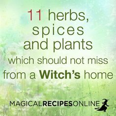 Read everything about these magical 11 herbs! http://www.magicalrecipesonline.com/2015/11/which-11-herbs-spices-and-plants-should.html