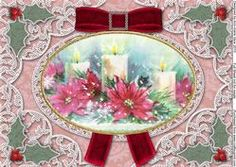 Christmas Candle Trio Velvet And Lace A4 Sheet