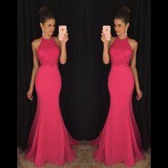 Elegant Pink High Neck Sweep Train Chiffon Trumpet Mermaid Prom Dress Cwb0590