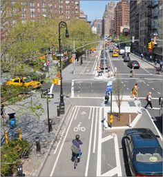 Ninth Ave NYC, Bike lane by the sidewalk, and on-street parking adjacent to traffic flow