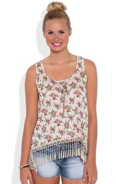 Deb Shops Slub ditsy floral print cross back tank with front crochet bottom $14.25