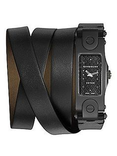 Givenchy Seven Blackened Stainless Steel & Leather Wrap Strap Watc