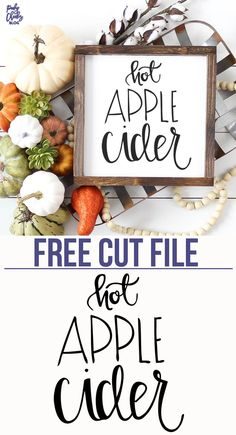 Hot Apple Cider Free Cut File for Silhouette and Cricut. PoofyCheeks.com #freecutfile #cutfile Apple Decorations, Thanksgiving Decorations, Apple Cider Bar, Fall Projects, Diy Projects, Cricut Creations, Wood Creations, Fall Diy, Fall Crafts